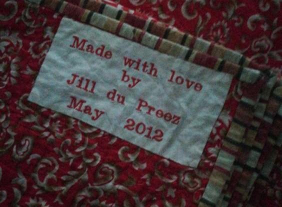 Made with Love Quilt Label Jill Alexa du Preez