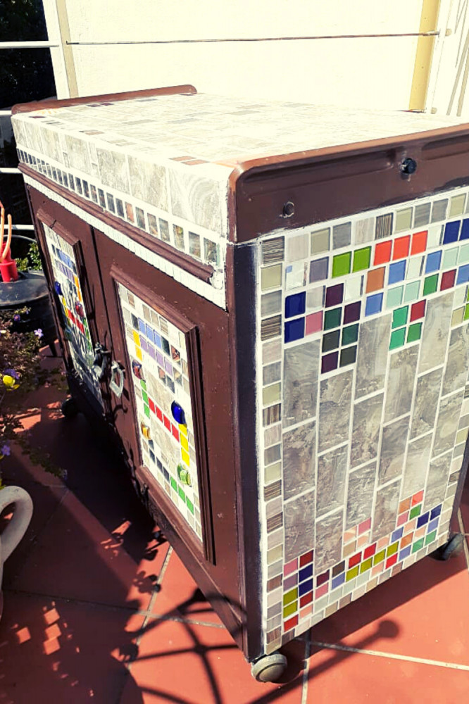 Cupboard Upcycled with Mosaics