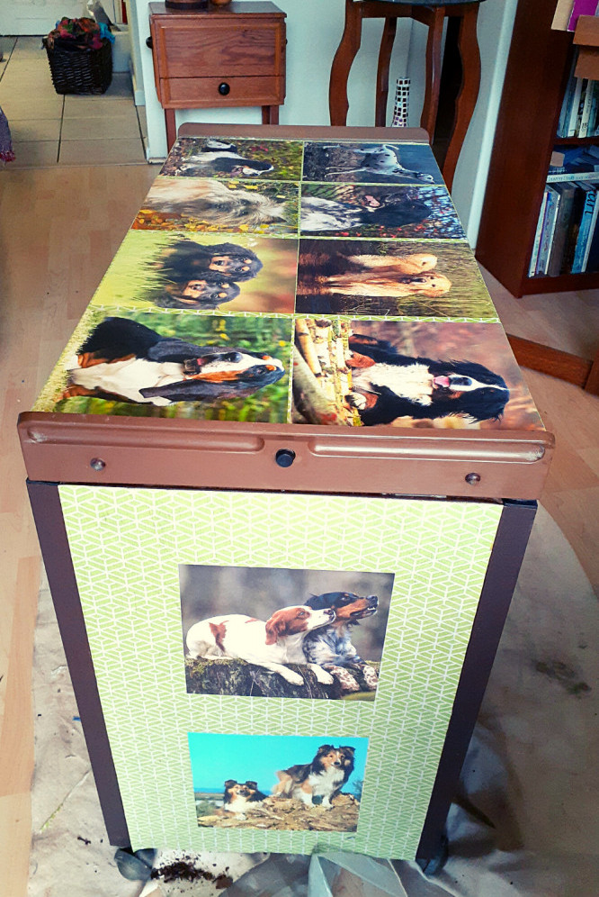 Upcycling an old food warmer with Decoupage